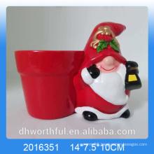 Terracotta Christmas santa ceramic flower pot for garden