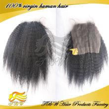 Мода Индийский Девы волос kinky прямая кружева закрытия