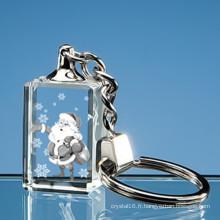 Chaîne principale de verre en cristal de gravure de laser de 3D pour le cadeau