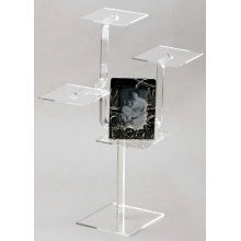 Custom Sturdy 4 Shelf Clear Acrylic Display Stands For Magazine