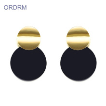 Neue stilvolle Damen Black Gold Disc Ohrringe