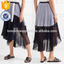 Nova Moda Assimétrica Plissado Listrado Algodão Chiffon Envoltório Saia DEM / DOM Fabricação Atacado Moda Feminina Vestuário (TA5169S)