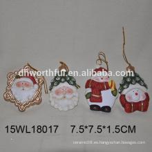2016 navidad colgante ornamento cerámica santa cerámica muñeco de nieve