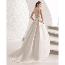 Лодка Шеи Кружева Складка На Спине Ремень Атласная Свадебное Платье