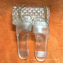 Top Women Slides Matching Shoe And Handbag Full Set Design Ladies Jelly PVC Transparent Handbags Girl Chain Shoulder Bags