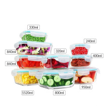Factory Microwave glass Lunch box Food glass storage container with Airtight Lock Lids