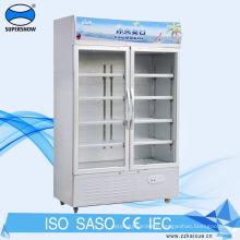 Fan cooling glass door fridge for drinks