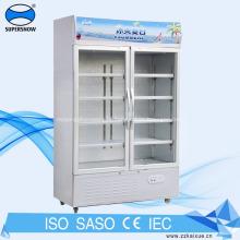 Refrigerador de ventoinha com porta de vidro para bebidas