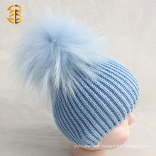 Custom Cute Pure Colour Unisex Fur Ball Winter Baby Hat