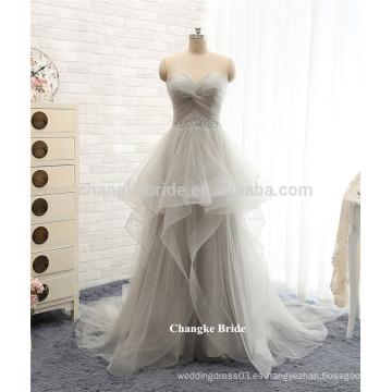 Venta caliente gris más los vestidos de moda del baile de fin de curso de Tulle de la longitud del piso del vestido