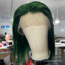 Glueless 100% human hair Full Lace Wig 360 Lace Frontal Wigs For Black Women Green bob Hd Transparent Lace Front Human Hair Wigs