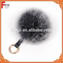 Wholesale Genuine Fox Fur Keychain Luxury Fox Fur Pompom Keychain Fashion Ball Pandent Gift