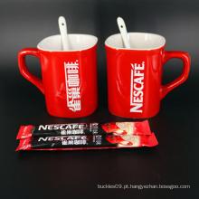 Caneca personalizada impressa da porcelana do tipo logotipo vermelho personalizado da porcelana