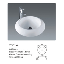 7001W Ceramic Bathroom Round Art Basin