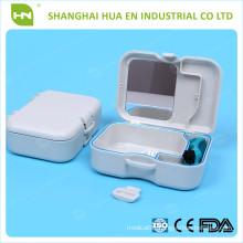 Round shape dental denture strorage box with mirror and brush