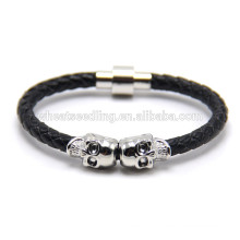 punk style genuine leather skull men lion head magnetic clasp bracelet