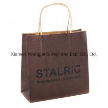 Custom Printed Recycled Twisted Handle Brown Kraft Paper Bag