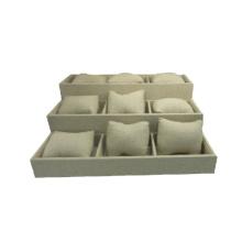 Flexible Beige Leinen Kissen Uhr Display Box Showcase Tray (TY-12W-BLN1)
