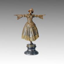 Estatua de Bailarín Rococó Chica Baile de Escultura de Bronce TPE-084
