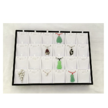White Black Leather 24 Pendants Jewelry Display Stand Tray Wholesale
