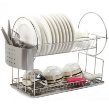 Full Stainless Steel Two Tier Kitchen Dinnerware Plate Dish Rack