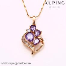 31735-Xuping Jewelry Wholesale Gold Girl collar de cristal colgante
