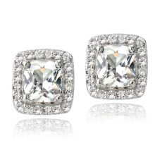 925 Silver White Topaz Cushion Stud Earrings Wedding Jewelry