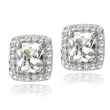 925 Silver White Topaz Cushion Stud Earrings Jóias de casamento