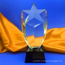 Trophée de verre cristal optique récompense cinq cadeau de colonne de coin