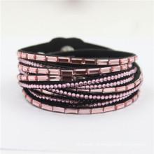 Hot vendendo Rhinestone Velvet Leather Crystal Wrap Braceletes Deluxe