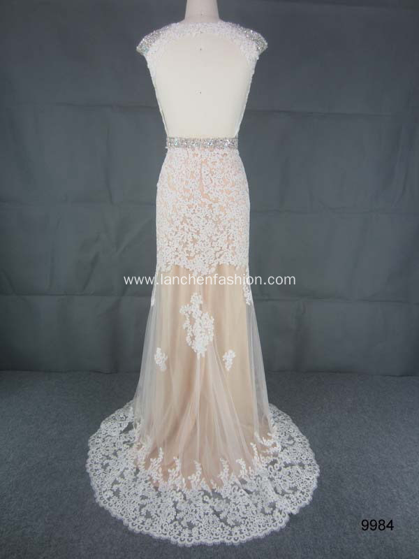 Cap Sleeve Backless Lace Evening Gown