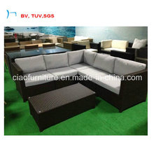 Balck Rattan Garden Corner Sofa with Coffee Table (CF1379-L)