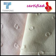 Tela de algodón del telar jacquar / suave acabado blanco Damasco suave tipo jacquard
