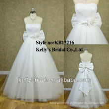 Novo design corpete plissado strapless A-line vestido de noiva barato