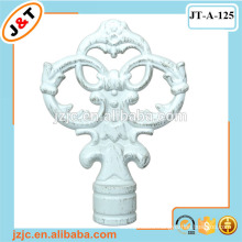 painting white metal curtain rod with classic finial
