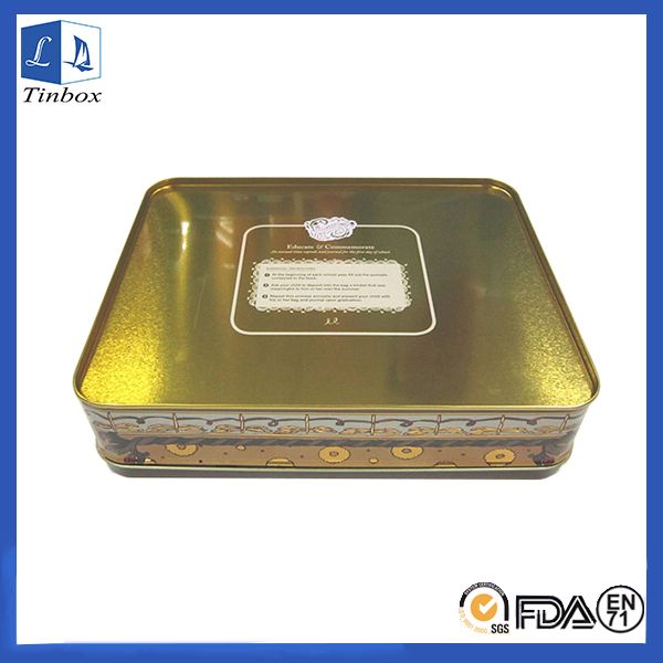 Rectangular Cosmetic Tin Box With Lid