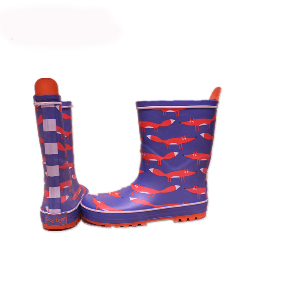 custom design boy's rubber rain boots with printing