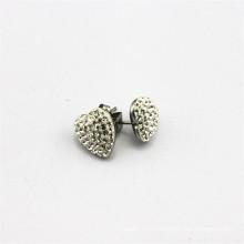 Vente en gros boucles d'oreilles en forme de coeur en zircon en forme de coeur, boucles d'oreille en acier inoxydable Chine