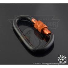 Tornillo de bloqueo de aluminio en forma de D Carabiner Keychain 6 cm Negro