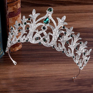 Silver Alloy Crystal Pageant Princess Crowns
