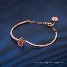 European American Fashion Jewellery Rose Gold Jewelry Gift Gourd Red Crystal Bangle Beating Heart Bracelet for Women