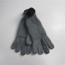 Mohair Knit Gloves With Small Pompom