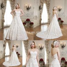 Alibaba vestido de noiva vestido de noiva com decote querido feito na China 2014 vestido de noiva de renda longa com acessório de faixa NB0658