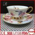 P&T porcelain factory cups and saucers, coffee set, decal bone China