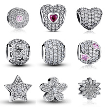 925 Sterling Silver European Charms with AAA CZ