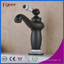Fyeer Attractive Bathroom Black Basin Tap with Ceramic Handle