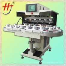 X Six colors open tray pad printer with conveyor