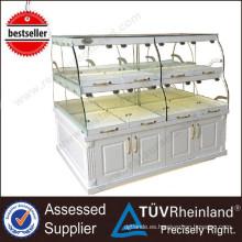 Los lados dobles comerciales vendedores calientes del diseño de Europa 2 capas exhibidores de exhibición de cristal de la panadería