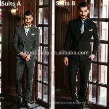 Männer traditionelle chinesische Anzug für Hochzeit 2014 feste Farben-Streifen-Knöpfe Großhandels-Geschäfts-Mann-Klagen NB0552