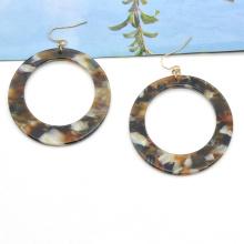 Custom round acetic acid ear rings for women classic cellulose acetate tortoiseshell earrings